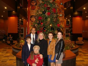 Christmas with her host family.