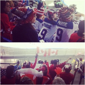 American and Canadian fans during the game between US and Canadian women's hockey teams