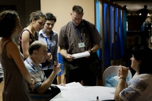 Scene from Evelina Ibrayimova '11 OSCE election observer mission interpreting experience. 2