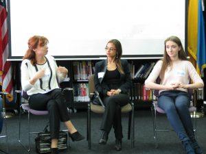 Olesya Shambur '96, Nataliya Bugayova '05, Halyna Vorona '11 answering questions from guests