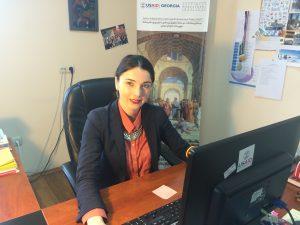 Lana Chkhartishvili FLEX 2004 alumni working at EWMI office, Tbilisi, Georgia