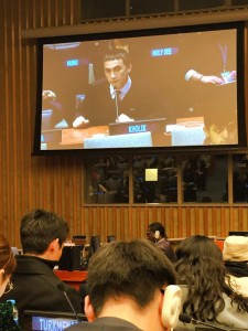 Kholmati Kholik is addressing the issues of migration during the Youth ECOSOC Forum in UN Headquarters