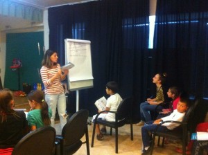 Tatia Rtveladze - a volunteer with the students