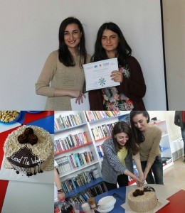 Mariam Ghvamichava - Closing, FLEX Alumni Mariam Ghvamichava '10 and Rima Beridze '11 cutting Lead The Way Cake with participants