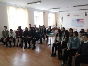 AZERBAIJAN SHEKI Read to Lead project by Teymur Fatullayev FLEX'15. Students listening to the presentation about the advantages of reading1