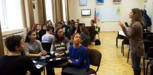 Yuliia Shevchenko presenting the ideas